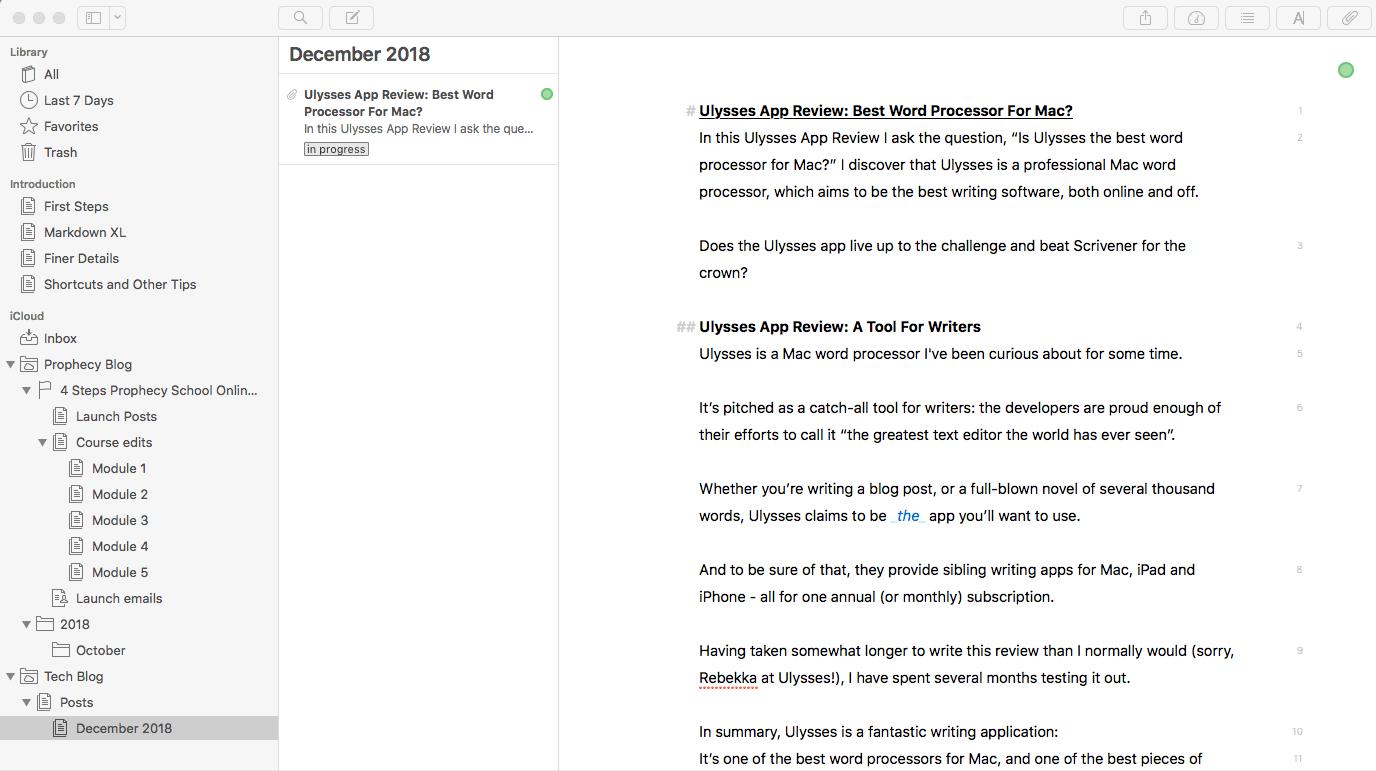 Ulysses App Review: Best Word Processor For Mac? | ErgonomicToolbox com